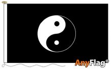 YIN YANG BLACK  ANYFLAG RANGE - VARIOUS SIZES